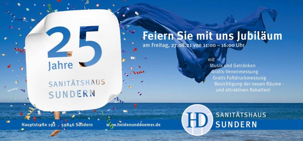 Sanitätshaus Sundern Heiden & Dömer Jubiläum Einladung